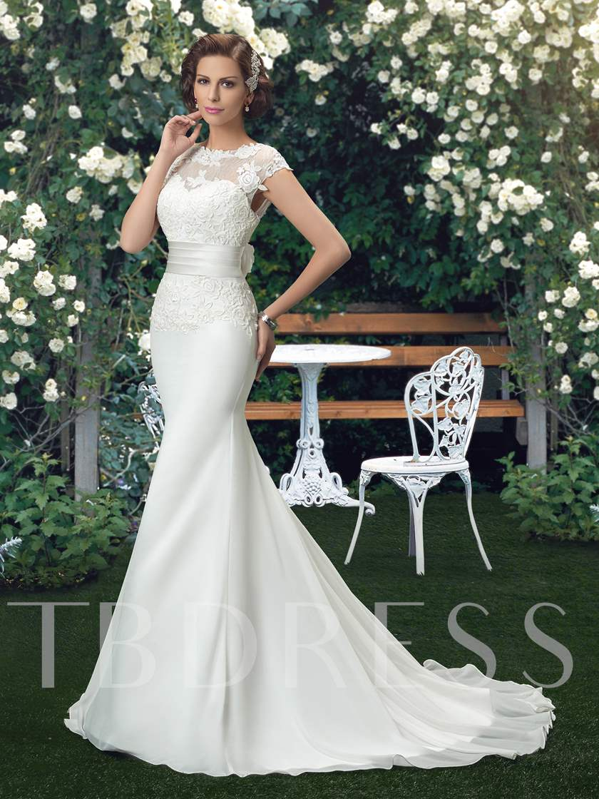 Cap Sleeves Flowers Lace Mermaid Wedding Dress