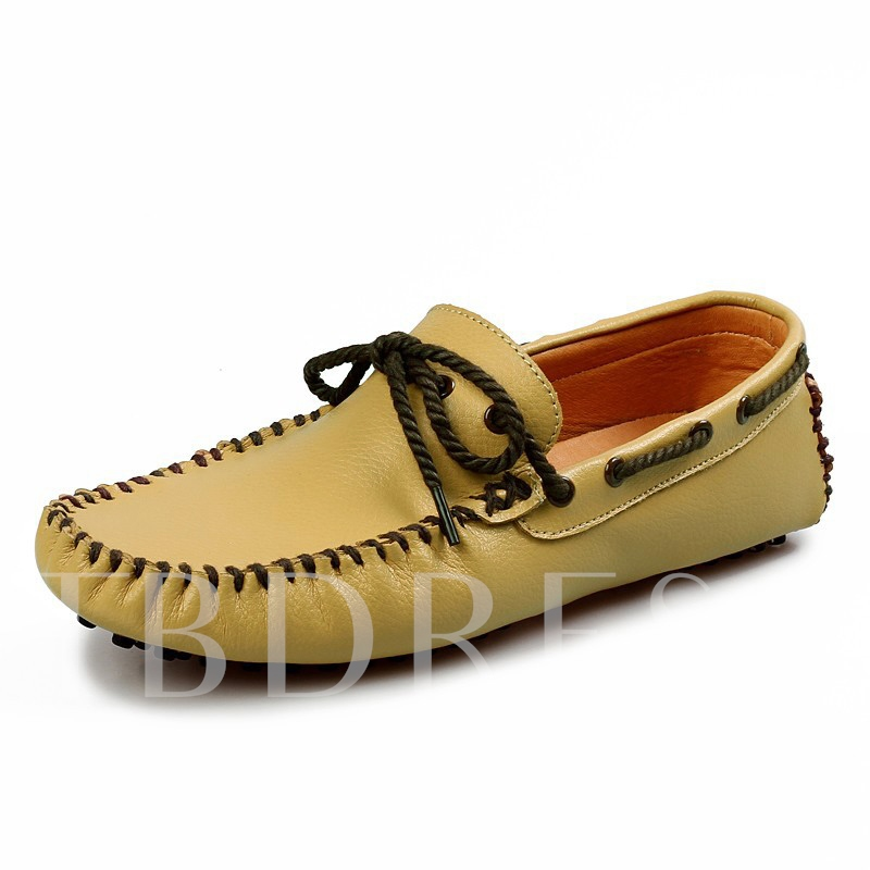 Solid Color Strappy Quilted Men's Moccasin-Gommino
