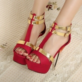TBdress Contrast Color Strap Stiletto Heel Prom Shoes