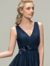 V-Neck Pleated Flowers Bridesmaid Dress