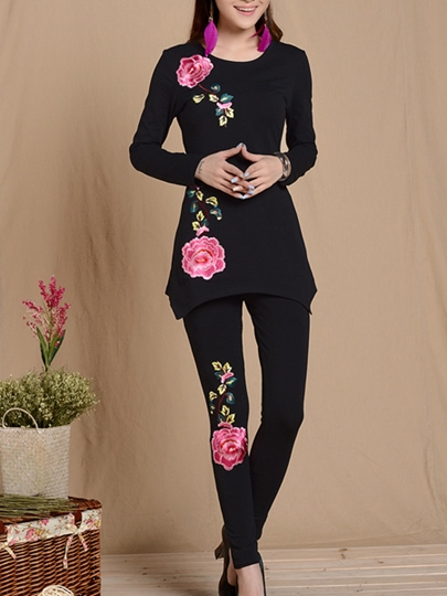 Plant Embroidery Women's Pants Suit