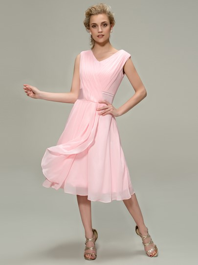 Tea-Length A-Line Pleated Chiffon Bridesmaid Dress