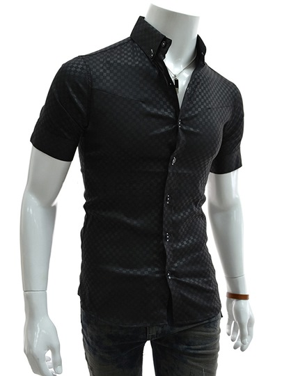 Plaid Single-Breasted Half Sleeve Men's Shirt