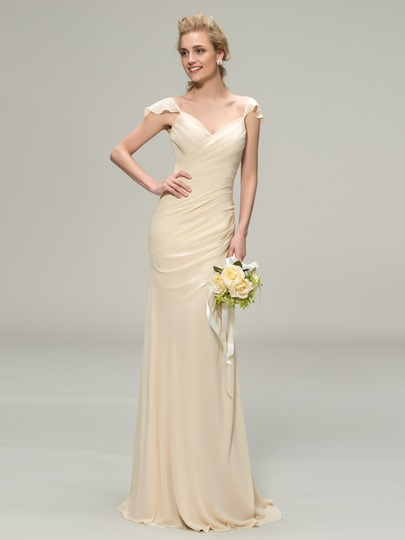 Straps Long Column Bridesmaid Dress