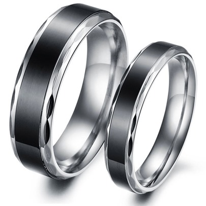Black Korean Style Black Lover's Rings(Price For A Pair)