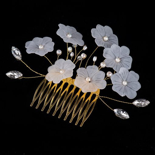 Bright Flowers Rhinestone and Pearls Bridal Wedding Comb