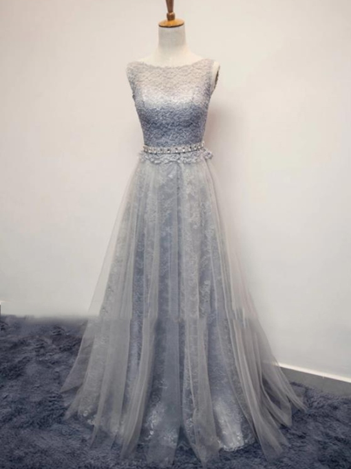 A-Line Bateau Lace Sashes Evening Dress