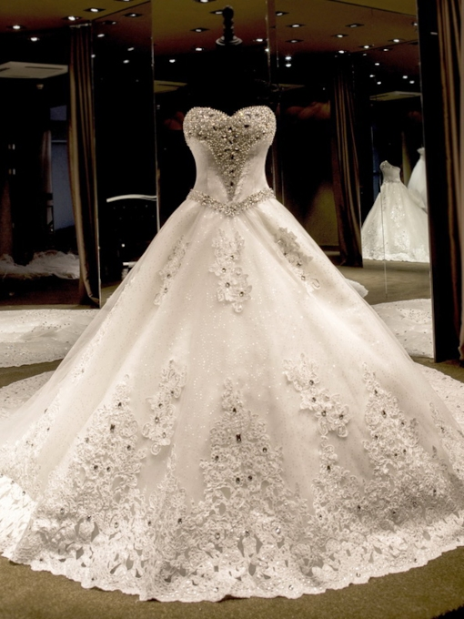 Sequins Appliques Beading Ball Gown Wedding Dress