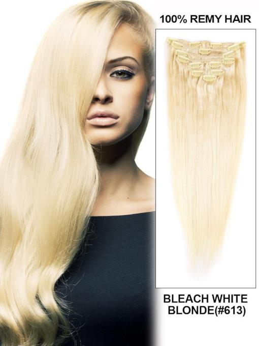 613 Blonde Silky Straight Clip In Human Hair Extension 9 Piece Virgin Hair