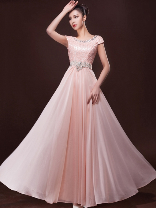 A-Line Scoop Lace Rhinestone Evening Dress