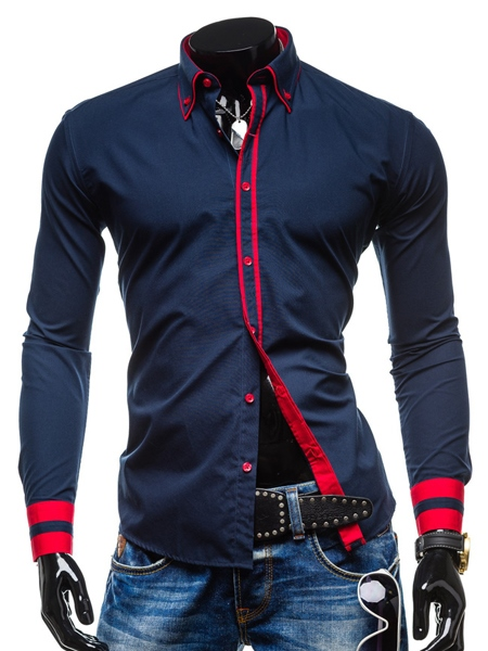 Color Block Lapel Long Sleeve Buttons Men's Shirt