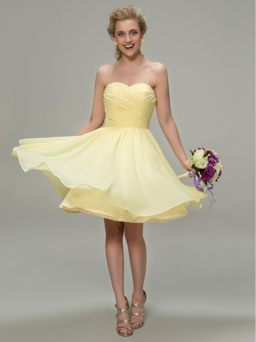 Sweetheart Pleated Short Beach Daffodil Bridesmaid Dress