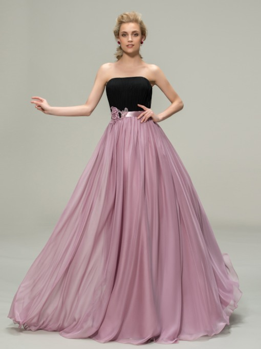 Strapless A-Line Pleats Ribbon Bridesmaid Dress
