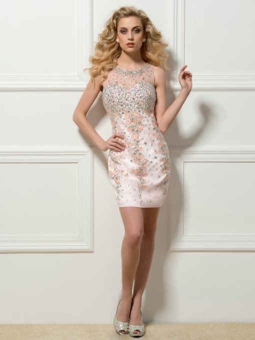 Round Sheath Beadings Rhinestone Button Short Cocktail Dress