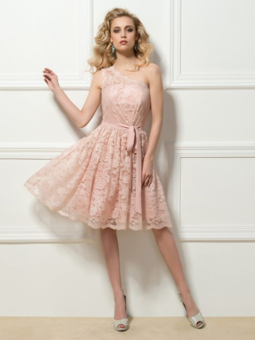 One Shoulder Sashes Knee-Length Lace Homecoming Dress