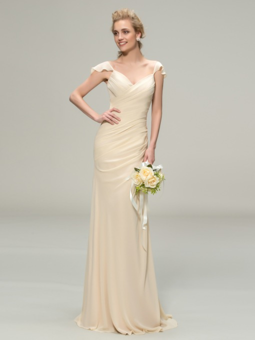 Straps Ruched Column Long Bridesmaid Dress