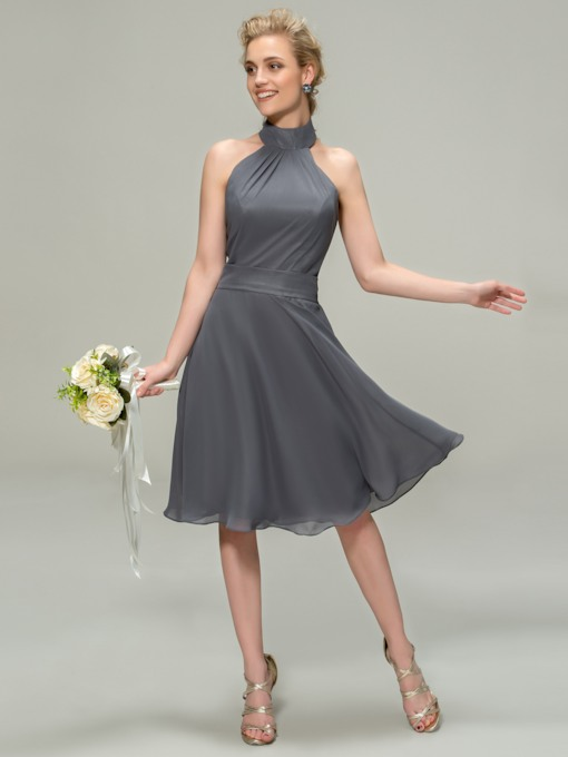 Halter Knee-Length Bridesmaid Dress