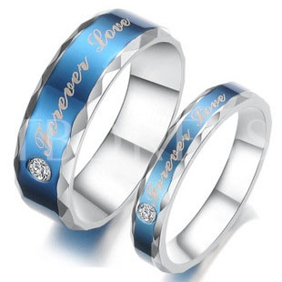 Image of Blue Rhinestone Decorated Lovers Rings(Price For A Pair )