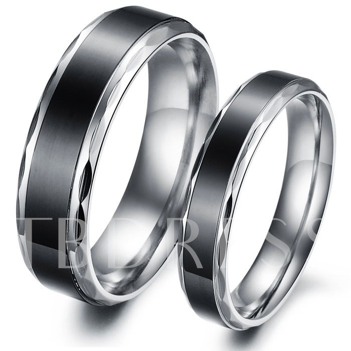 Image of Black Korean Style Black Lovers Rings(Price For A Pair)