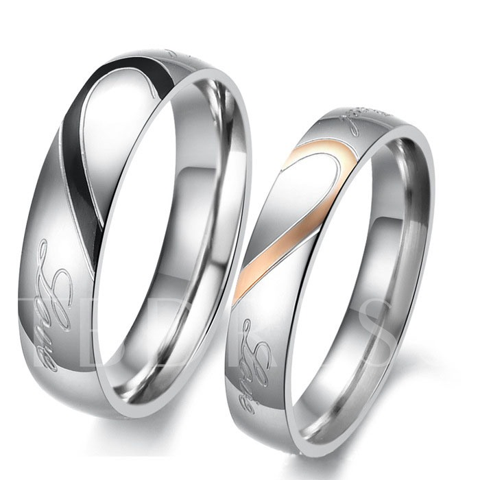 Silver Hearts Pattern Lover's Rings(Price For A Pair)