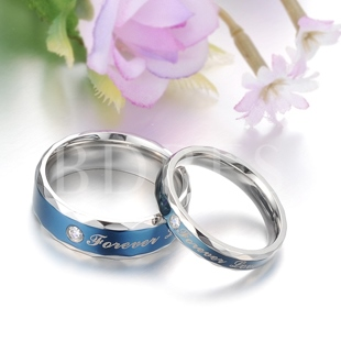 Blue Rhinestone Decorated Lover's Rings(Price For A Pair )