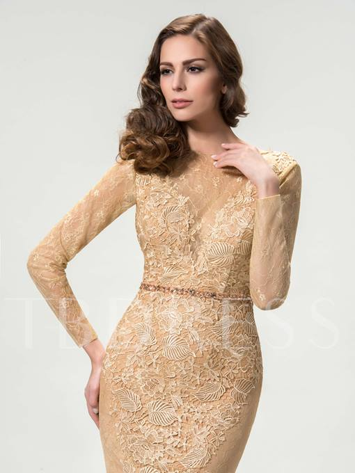 Bateau Neck Long Sleeve Mermaid Lace Evening Dress