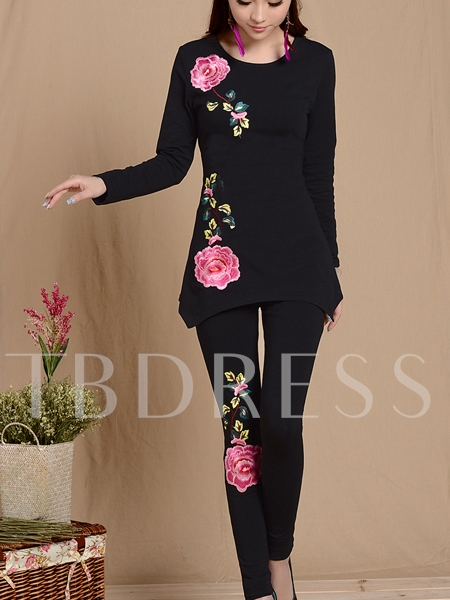 Plant Embroidery Women's Two Piece Set