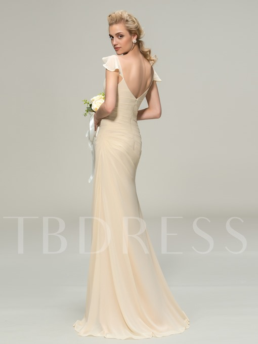 Straps Ruched Long Column Bridesmaid Dress
