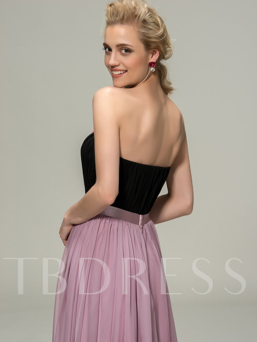 Strapless A-Line Flowers Bridesmaid Dress