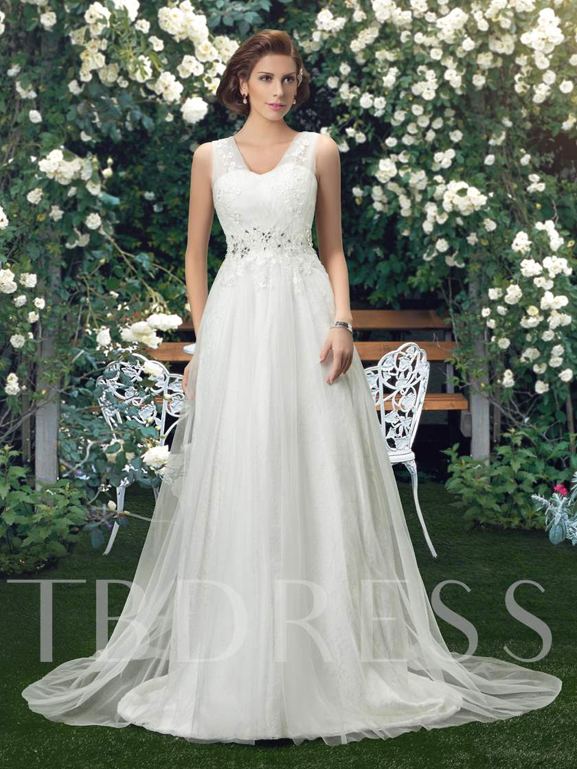 Straps V-Neck A-Line Beading Appliques Wedding Dress