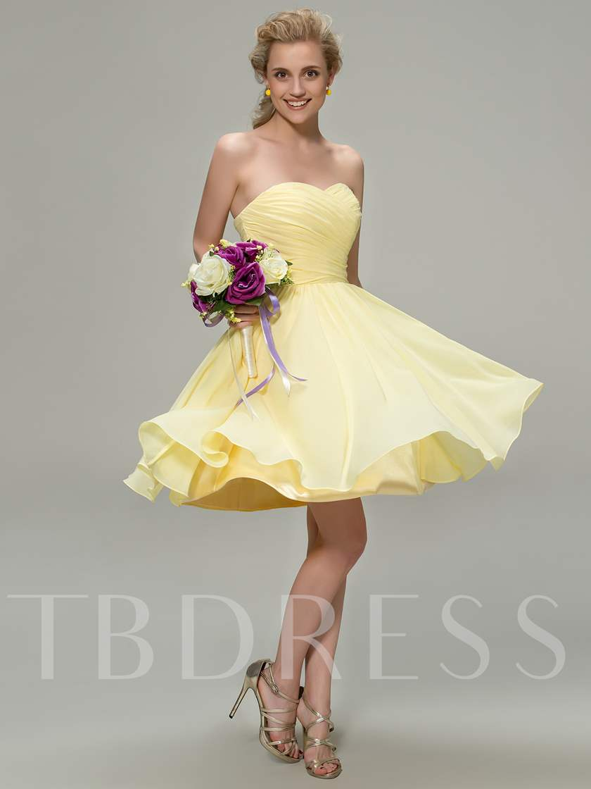 Short Pleated Sweetheart Beach Bridesmaid Dress