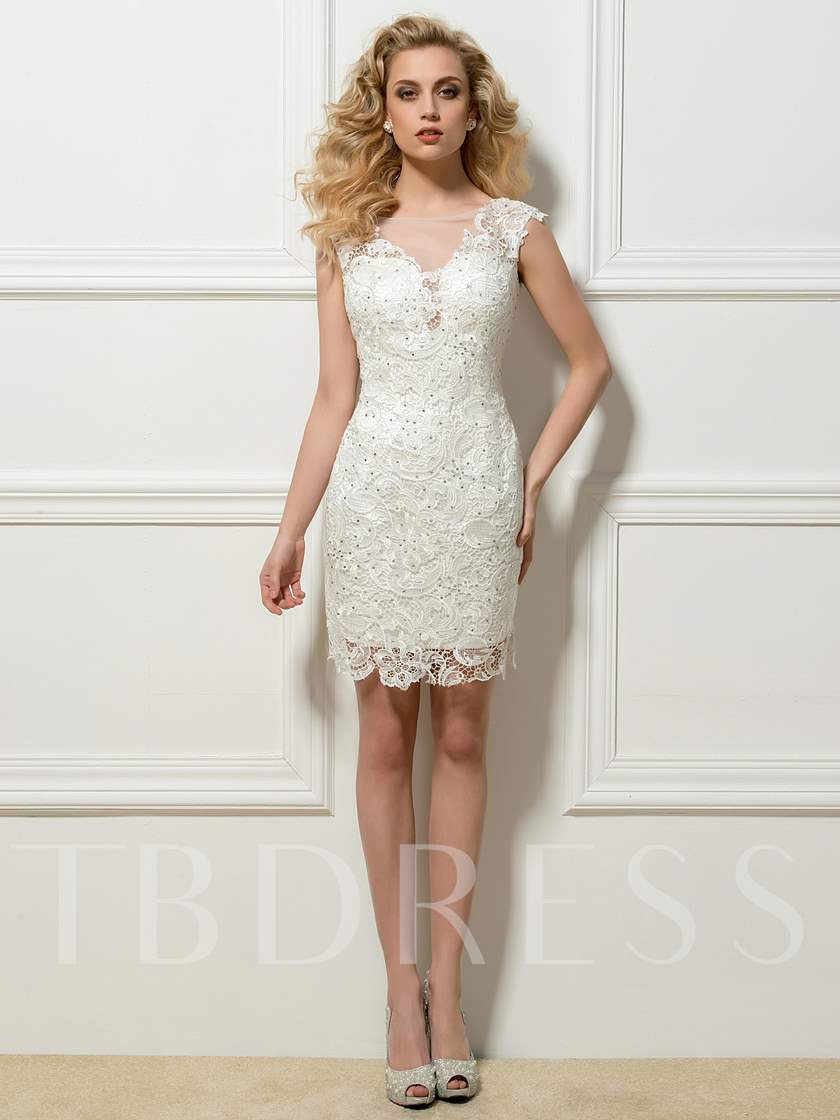 Sheer Neck Beading Column Lace Cocktail Dress