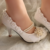 Closed Toe Pearls Flowers Stiletto Heels Bridal Shoes