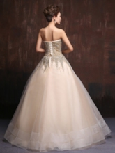 Beadings Sweetheart Sleeves Ball Gown Floor-Length Quinceanera Dress