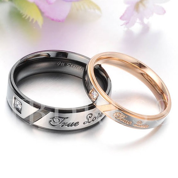 Image of Black Korean Style Letters Rhinestone Lovers Rings(Price For A Pair)