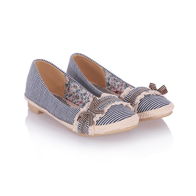 Bowknot Decorated Stripe Patchwork Women's Flats