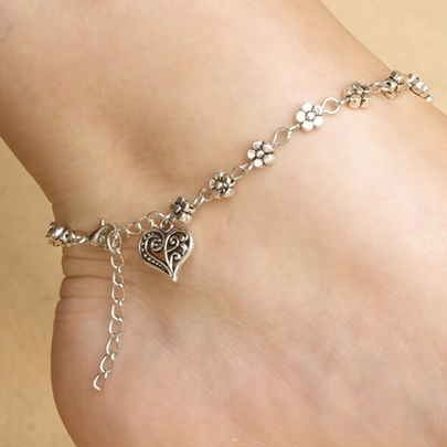 Silver Heart Shaped Women's Alloy Anklet