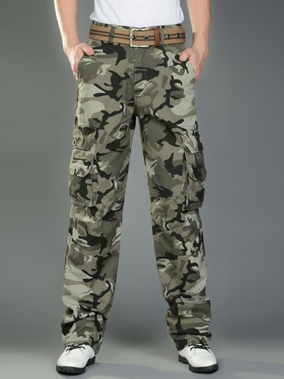 Camouflage Mid-Waist Men's Pants