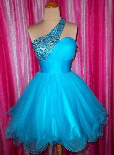 One-Shoulder Beadings Mini Homecoming Dress