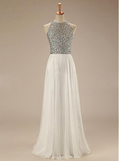 A-Line Jewel Beadings Backless Prom Dress