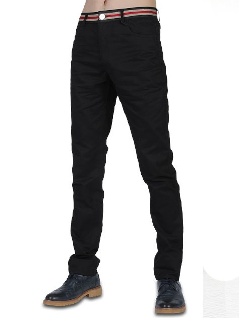 Mid-Waist Solid Color Men's Pants