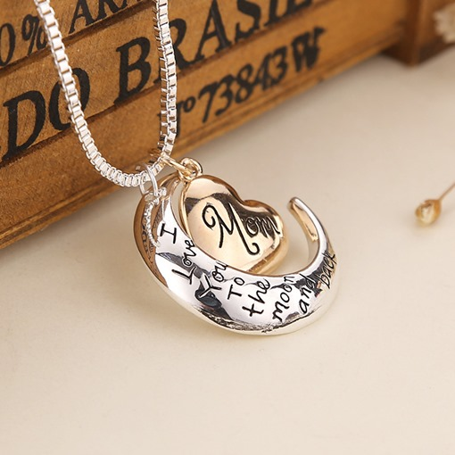 Sparkling Stars and Moon Letter Pendant Necklace