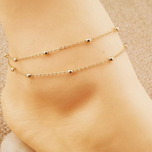 Golden Geometric Shaped Women's Alloy Anklet