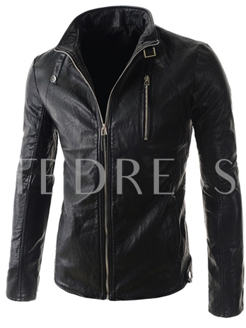 Zip Front Stand Collar Long Sleeve PU Jacket