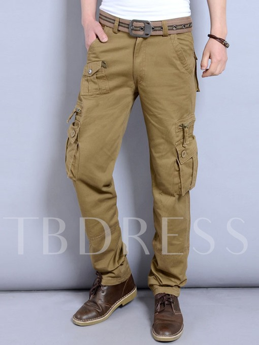 Solid Color Pockets Loose Pants