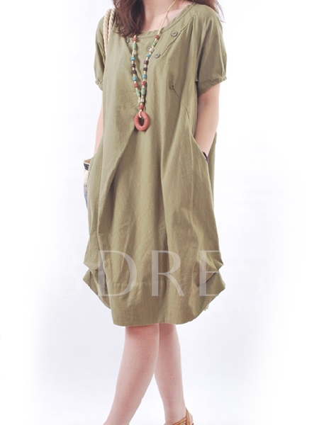 Round Neck Short Sleeve Above Knee Asymmetric Regular Women's Day Dress