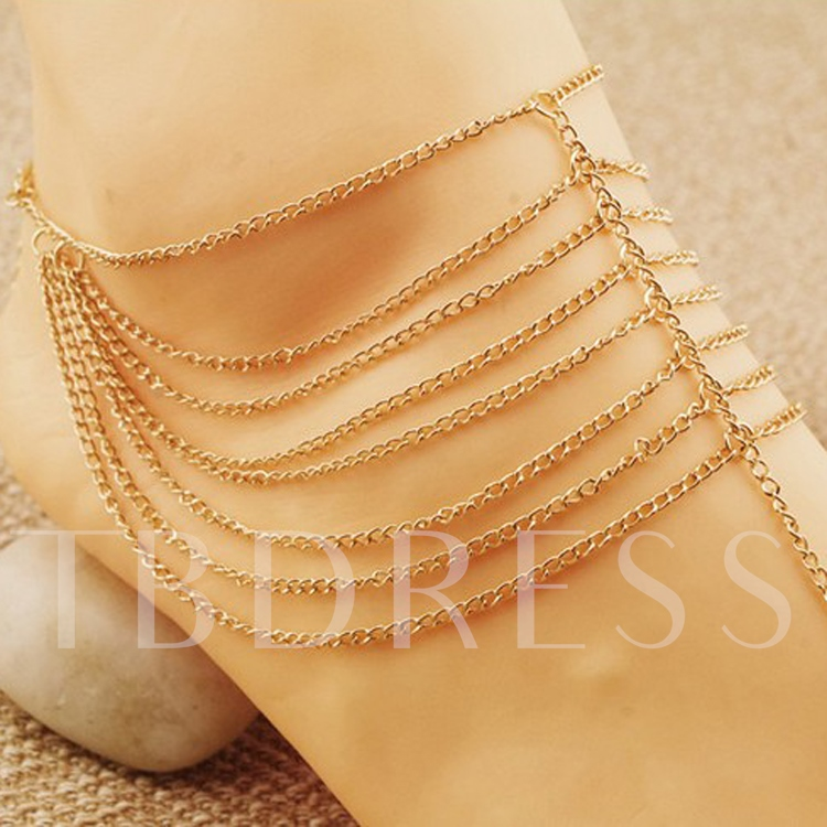 Solid Color Alloy Women's Anklet