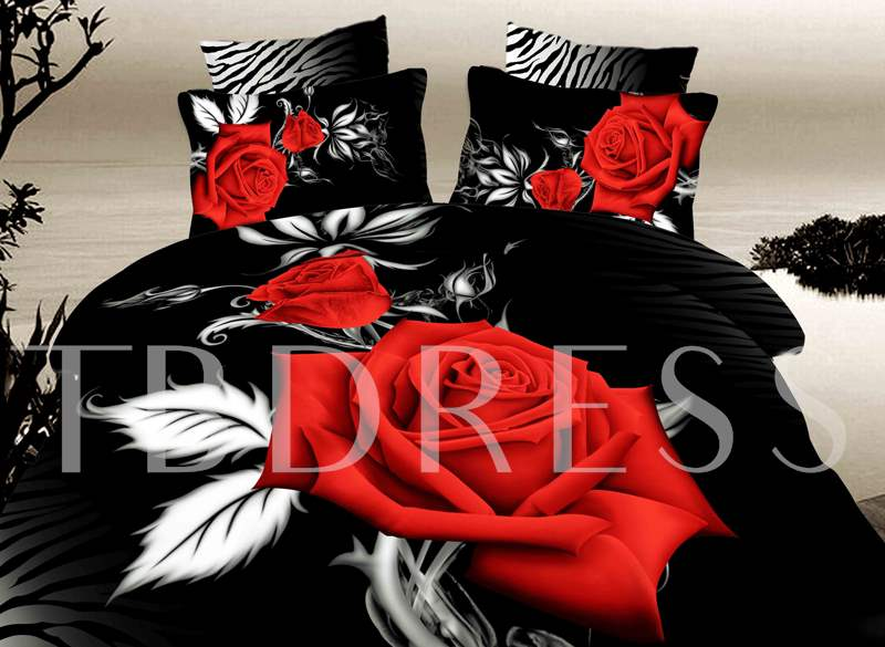 Red Rose with White Leaves Printed Cotton 3D 4-Piece Black Bedding Sets/Duvet Covers