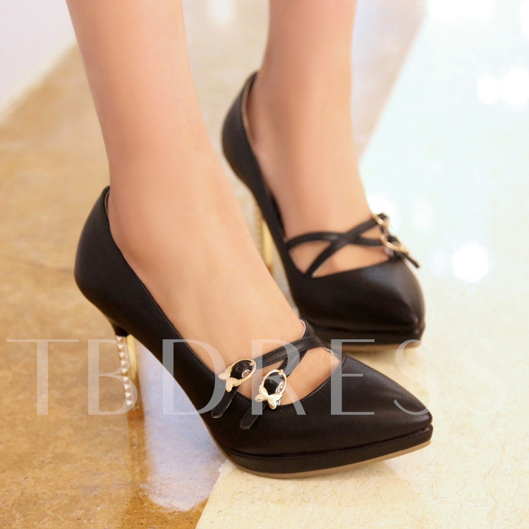 Cross Strap Pointed Toe Solid Color Pumps
