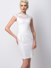 Sheath Jewel Neck Lace Short Cocktail Dress